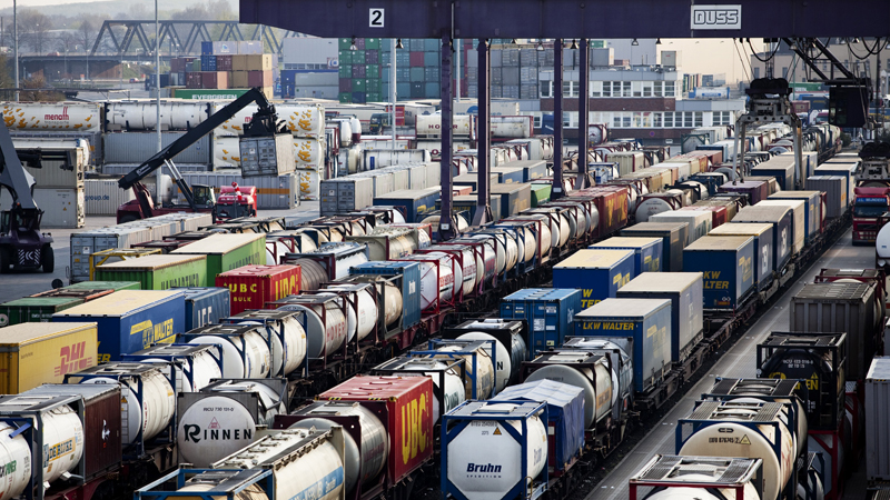 A freight terminal: Longer freight trains will accelerate modal shift from the roads.