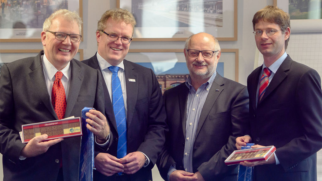 New faces on the board of the Pro-Rail Alliance: EVG-Chef Alexander Kirchner (centre right) reappointed as chairman, Matthias Kurzeck (right) now represents the VCD. Professor Hecht from the Technical University Berlin (left) is new to the board.