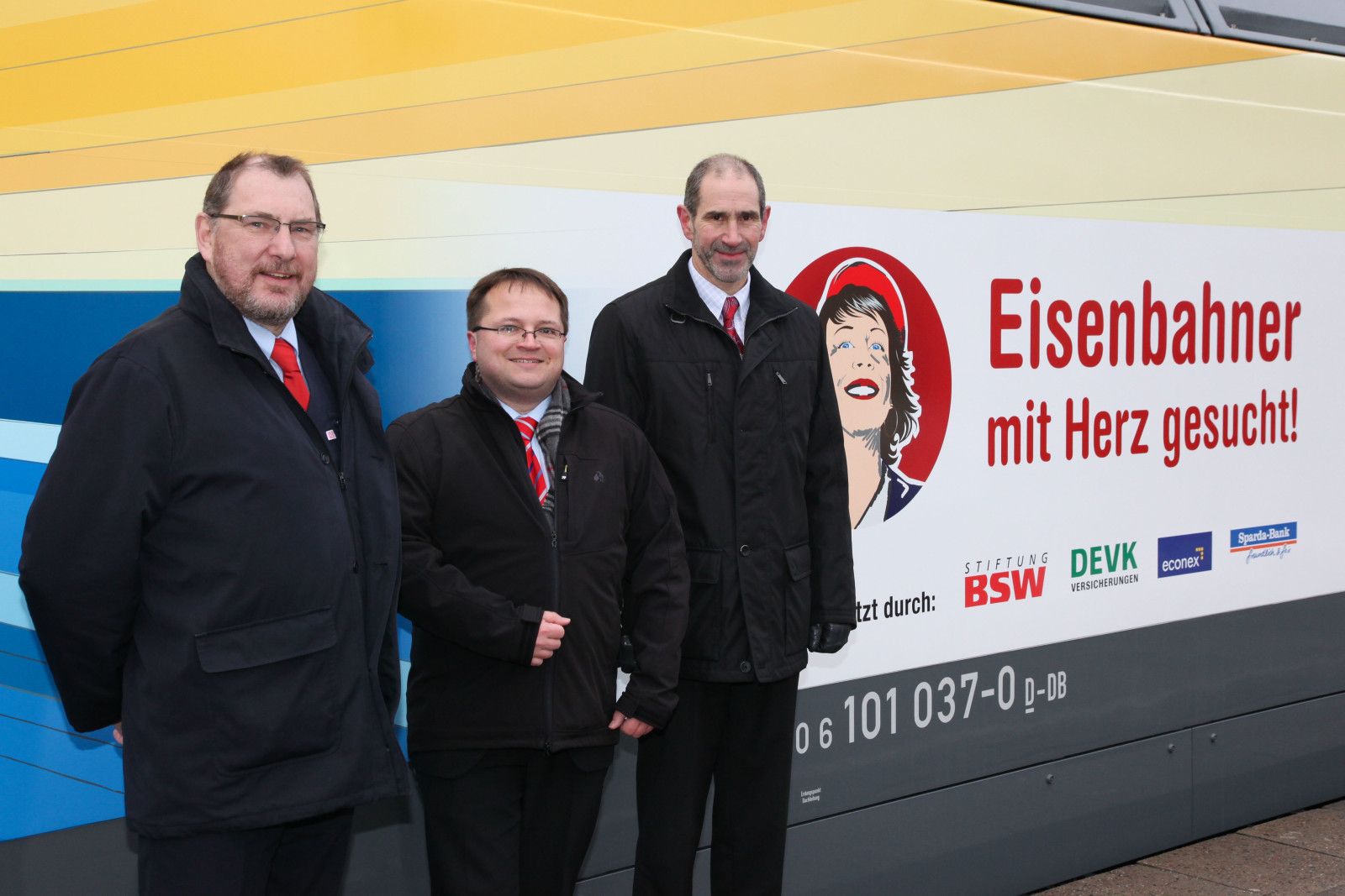 Lokführer Jürgen Baatz und die Unterstützer des Wettbewerbs