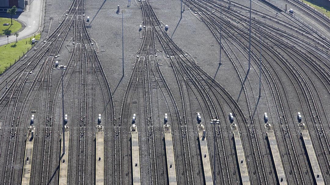 Bahngleise, Weichen, von Oben, Vogelperspektive