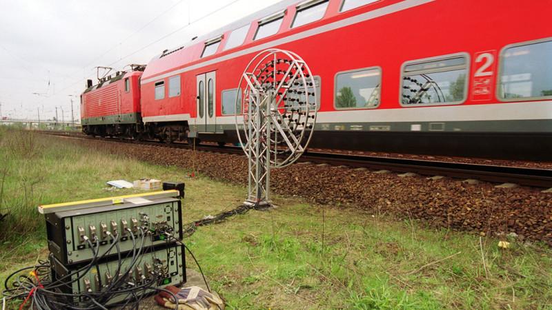 Eine Schienenverkehrslärm-Messung am Gleis