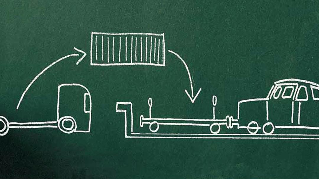 Grafik auf dunkelgrüner Tafel mit KLKW der seine Fracht auf einen Güterwaggon verlädt