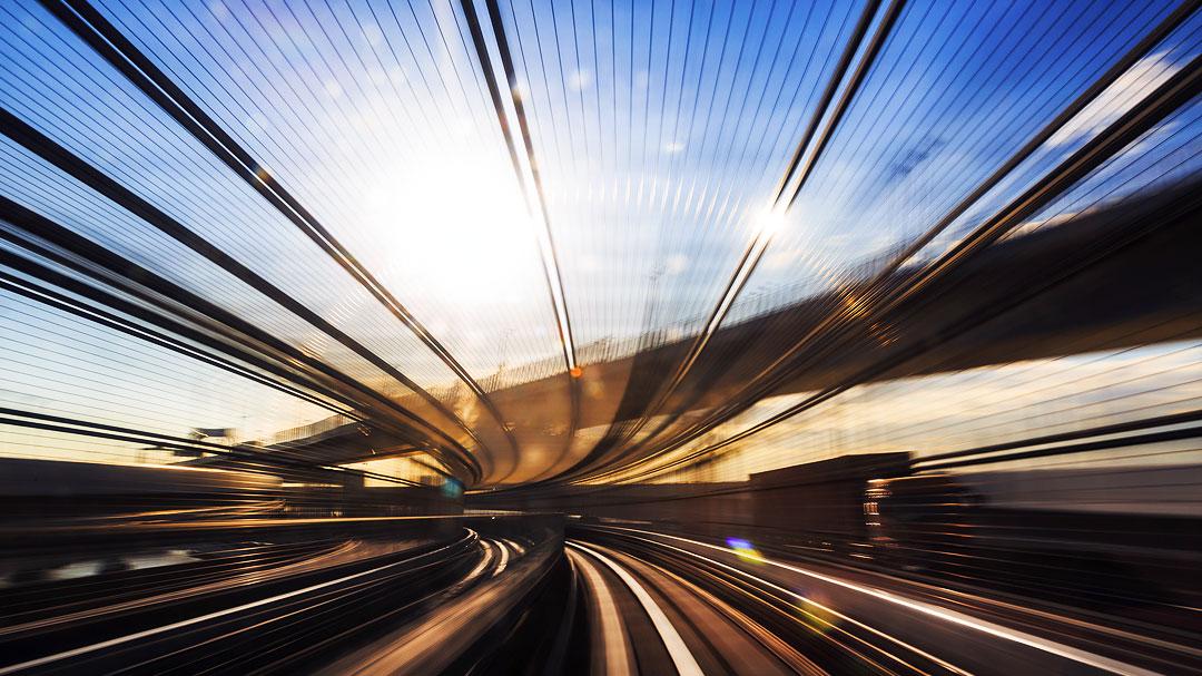 Zugfahrt bewegungsunschärfe