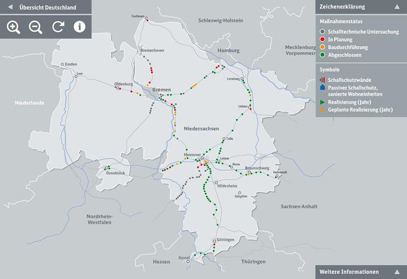 Lärmschutz im Schienennetz: Interaktive Karte