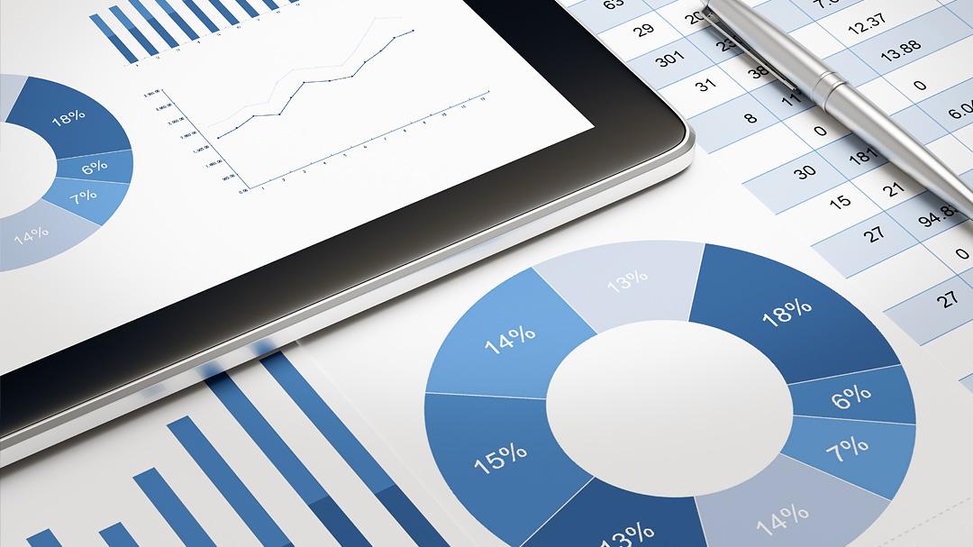 Allgemeines Statistikchart in Blautönen