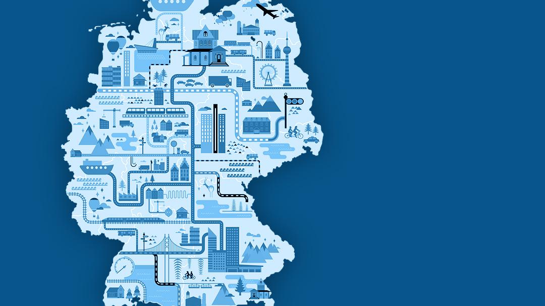 Deutschlandkarte Illustration zum Mobilitätsindex