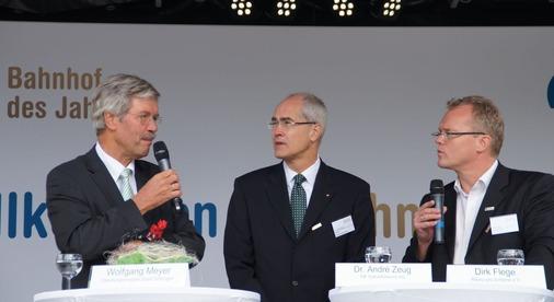 Talkrunde mit Jurymitglied Dirk Flege und Oberbürgermeister Wolfgang Meyer.