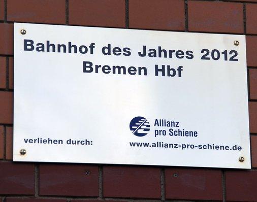 Siegertafel am Bahnhof Bremen
