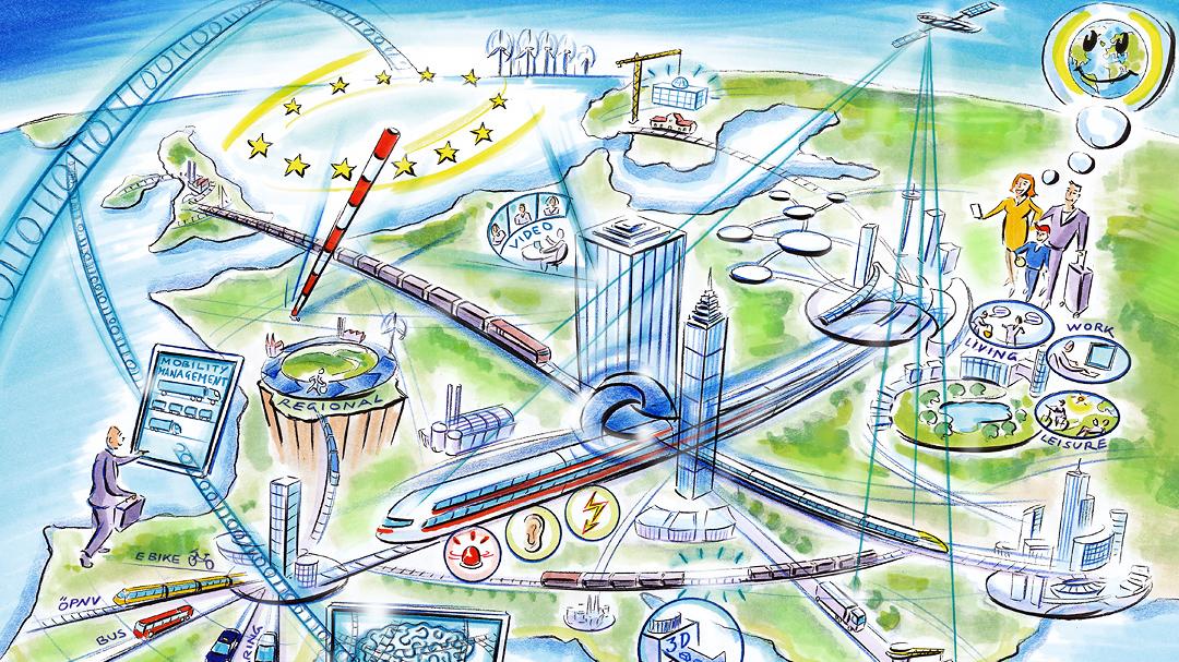 Illustration Stadt der Zukunft mit Zug