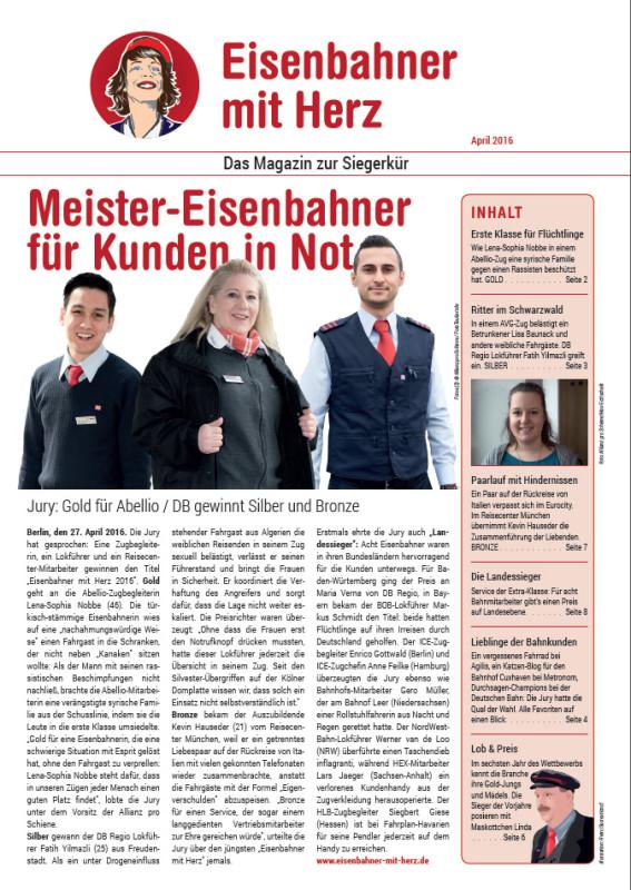 Das Magazin zur Siegerkür - Eisenbahner mit Herz 2016
