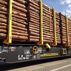 Rundholzwagen Transwaggon Mercer Holz