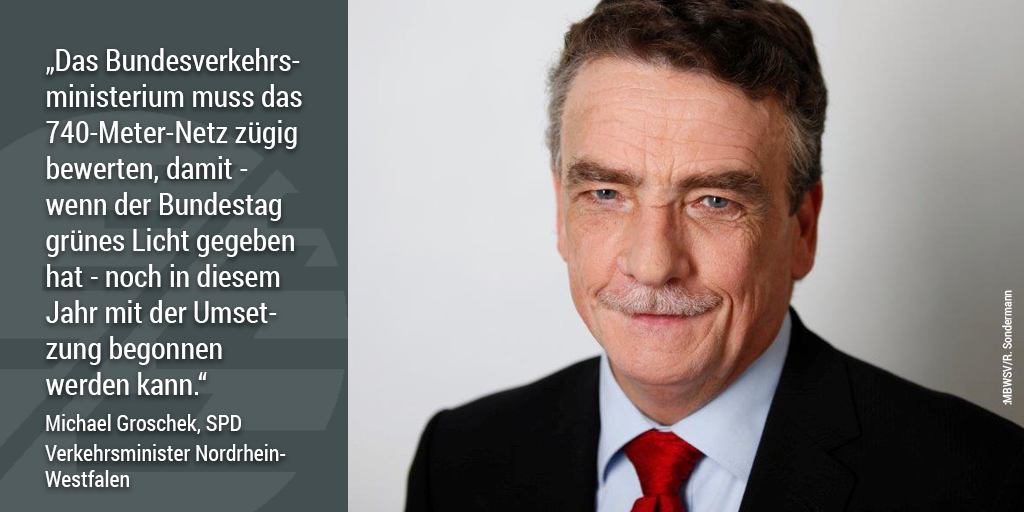 740-Meter-Netz, Michael Groschek, Verkehrsminister Nordrhein-Westfalen