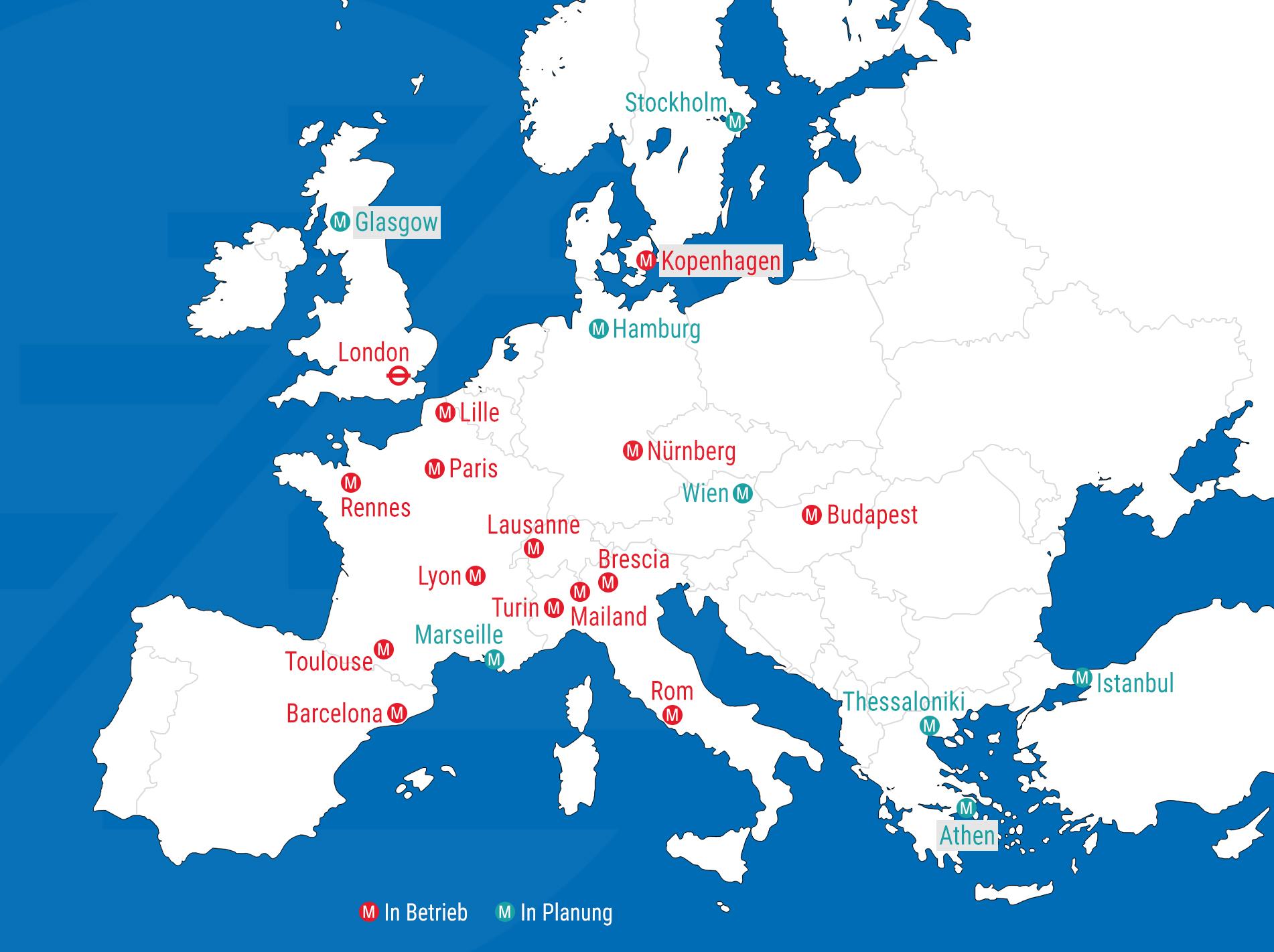 Karte Von Europa Mit Städten.Selbstfahrende Metros Befördern In Europa Eine Milliarde Fahrgäste