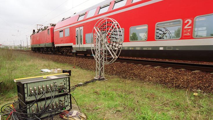Sensoranlage am Gleis: Hier wird der Schienenlärm gemessen