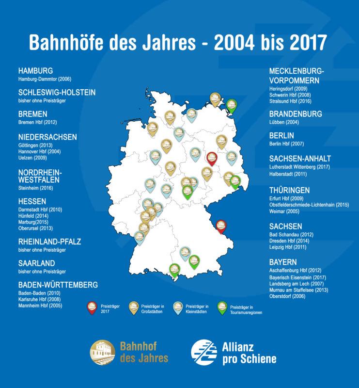 Bahnhof des Jahres: Übersicht 2004-2017