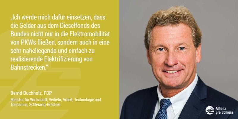 Bernd Buchholz sieht Nachholbedarf bei der Elektrifizierung der Schiene (Allianz pro Schiene)