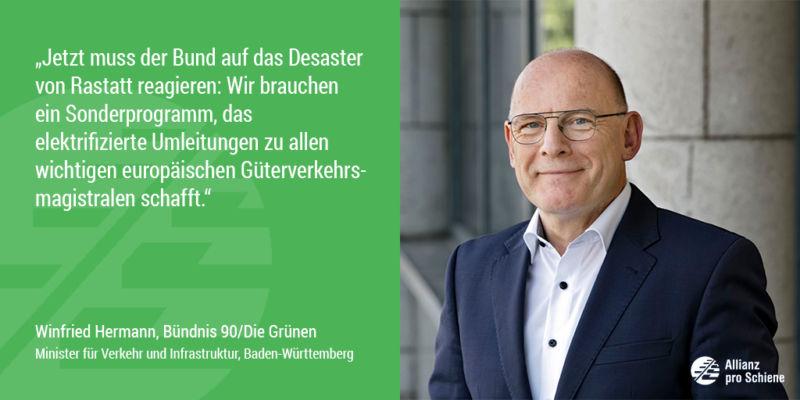Winfried Hermann sieht Nachholbedarf bei der Elektrifizierung der Schiene (Allianz pro Schiene)