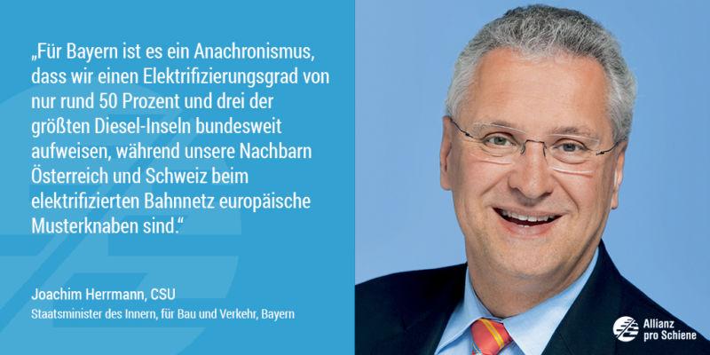 Joachim Herrmann sieht Nachholbedarf bei der Elektrifizierung der Schiene (Allianz pro Schiene)