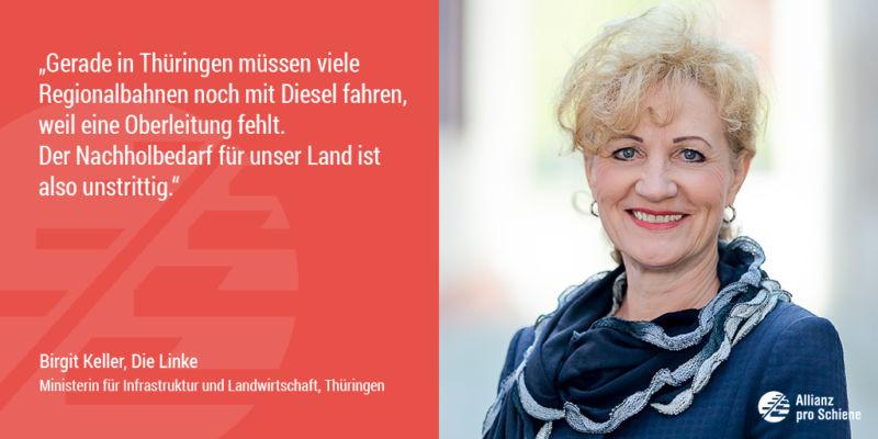 Birgit Keller sieht Nachholbedarf bei der Elektrifizierung der Schiene (Allianz pro Schiene)