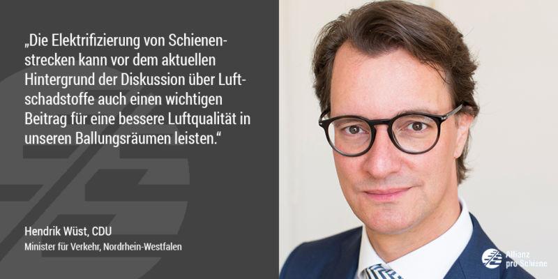 Hendrik Wüst sieht Nachholbedarf bei der Elektrifizierung der Schiene (Allianz pro Schiene)