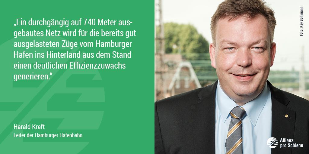 Bahn frei für 740-Meter-Netz: Harald Kreft von der Hamburger Hafenbahn freut sich.