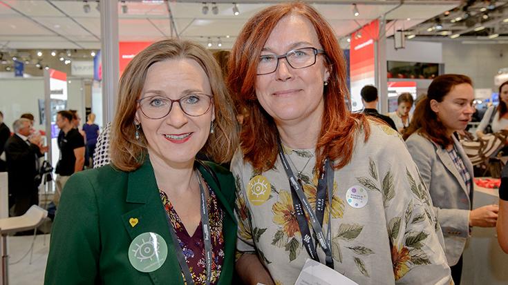 Zwei starke Frauen aus der Branche: BVG-Chefin Sigrid Evelyn Nikutta mit Projektleiterin Jolanta Skalska (Allianz pro Schiene).