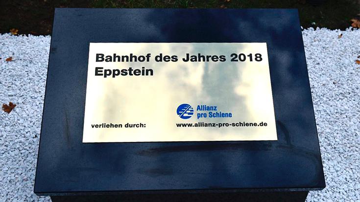 Siegertafel Bahnhof des Jahres Eppstein 2018