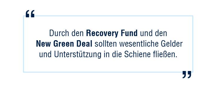 """Jahr der Schiene: """"Durch den Recovery Fund und den New Green Deal sollten wesentliche Gelder und Unterstützung in die Schiene fließen."""""""